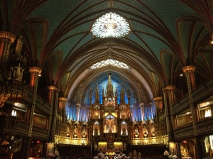The view inside the Notre Dame Basilica.