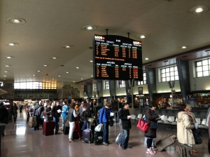 Travelling by train can be costly, but it can also be a smart option for shorter jaunts between cities. Pictured: Central Station, Montreal, QC.