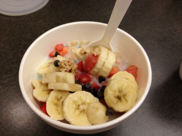 The Cereal Bar lets you pick one of about a half dozen cereals and add up to three toppings. Here: Organic granola with strawberries, bananas and chocolate chips.