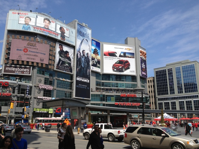 "Dundas Square, Toronto's answer to NYC's Times Square. Toronto is one of the ""hot"" destinations in 2015."