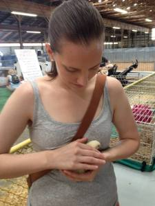 Caitlyn cozies up to a chick at the Marion Co. Fair.