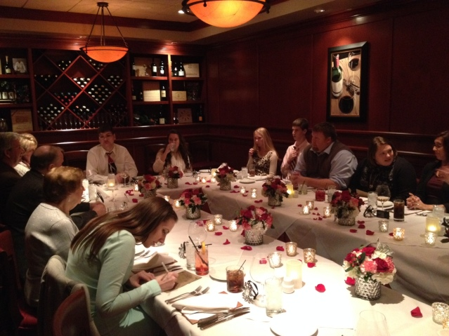 The intimate reception to follow was held at Fleming's, an upscale steakhouse just down the road from the chapel.
