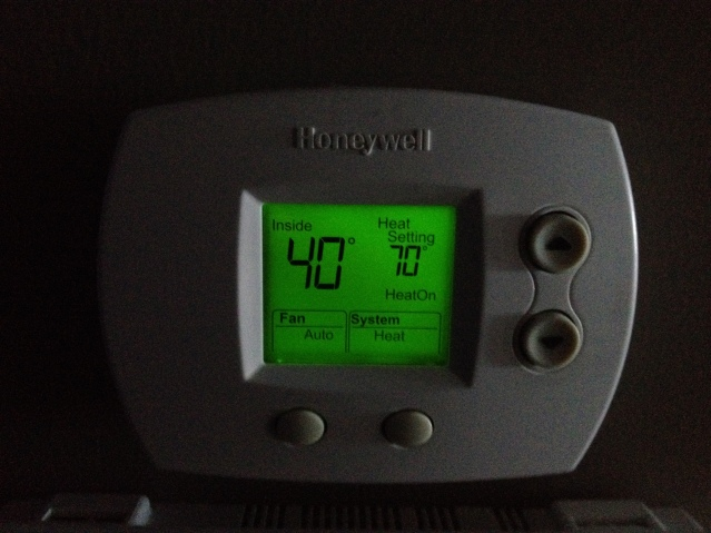 Brr! The temp inside our home the second morning of our adventure.