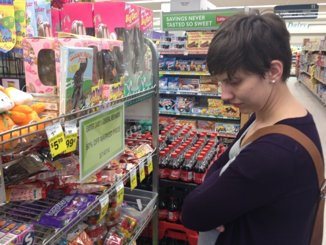 Leave it to Caitlyn to find the post-Easter candy sales at the local grocery store!