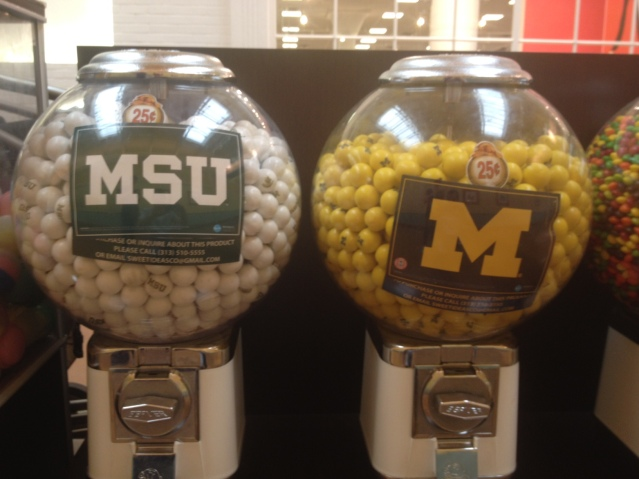 It must be Michigan if these gumball machines area side-by-side.