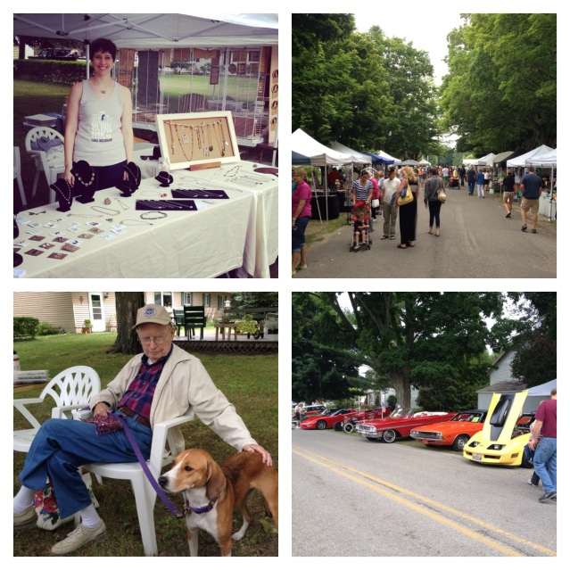 It's Arcadia Daze time! Clockwise, from top-left: Caitlyn shows off the goods; the crowds descend on the festival; it's summertime in Michigan, so classic cars are required; Grandpa Rauschert watches after Bailey.