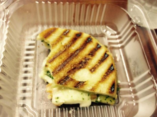 Tomato-mozzarella sandwich from Pastaria in North Market.