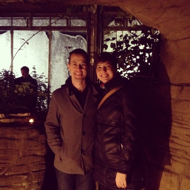 Stopping for a pic by the grotto.