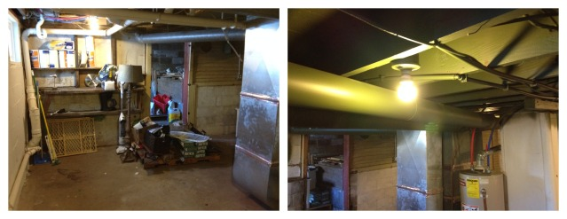 The basement ceiling before (left) and after (right). We also gutted out old, dilapidated shelves.