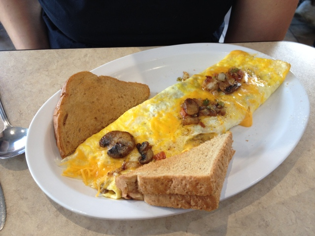 Caitlyn's omelet and toast.
