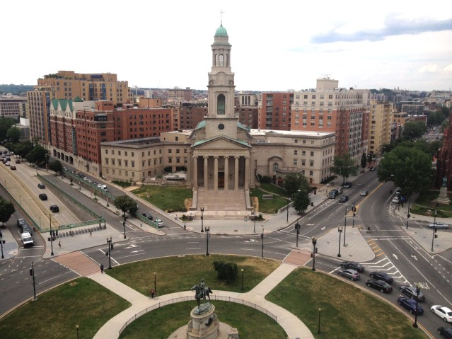 The view of Thomas Circle from the top of the hotel.